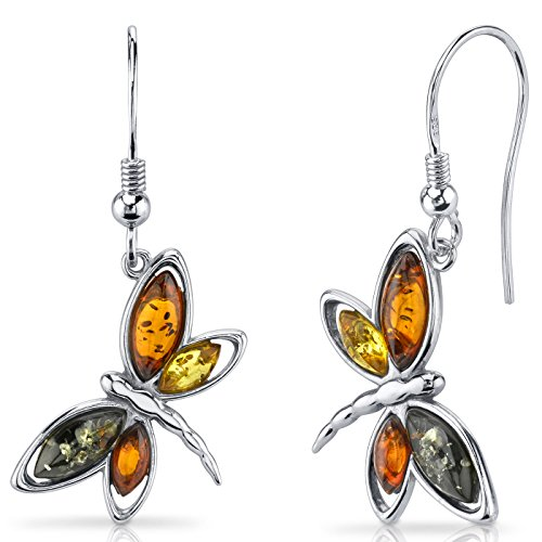 Baltic Amber Dragonfly Dangle Earrings Sterling Silver Multiple Colors