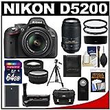 Nikon D5200 Digital SLR Camera and 18-55mm G VR DX AF-S Zoom Lens (Black) with 55-300mm VR Lens + 64GB Card + Case + Grip and Battery + Tripod + Tele/Wide Lenses + Filters Kit, Best Gadgets