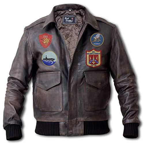 Top Gun Jacket - Maverick Costume Tom Cruise Top Gun Bomber Jacket - Flight Suit (Grey - A2 Aviator Jacket, 2XL/Body Chest 46