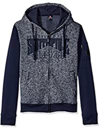 Southpole Men's Long Sleeve Hooded Full Zip Marled Fleece with Applique Logo