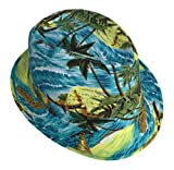Smile YKK Unisex Couple Beach Brim Fedora Top Bucket Hat Acid Blue