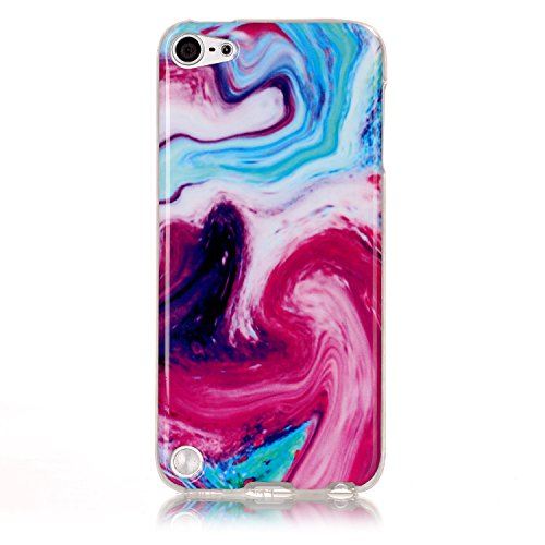 Price comparison product image Jewby Ipod Touch 5/6 Case, Marble Printed Soft Back Cover for Ipod Touch 5/6 with a Free Screen Protector (Colorful)