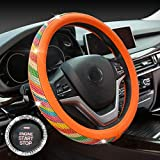 Crystal Diamond Steering Wheel Cover, PU Leather with Colorful Bling Bling Rhinestones, Universal 15inch / 38cm for Women Girls, Orange