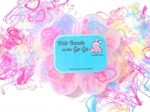 - HAIR BANDS on the GO-GO Tiny Ponytail Rubber Bands Baby Girl Toddler Hair Tie Elastic, Plastic Case
