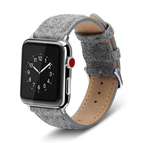 Apple Watch Series 3 Band 42mm, Benuo [Trendy Series] Premium Felt Wool Band, Classic Felt Fabric Strap with Secure Buckle, Adapters for iWatch Series 3/Series 2/Series 1/Edition/Sport 42mm (Grey) (Wool Band)