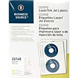 Business Source CD/DVD Labels for Laser and Inkjet Printers - Pack of 100 (26148)