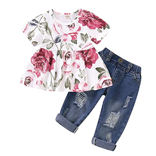 Girls Pants Set Baby Girl Clothes Infant Ripped Jeans Floral Long Sleeve T Shirt Tops Toddler Ruffle Outfits for Fall Winter
