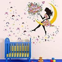 yufeng DiIY extraíble PVC calcomanía de Pared Decoración Flor Princesa de hadas mariposa bailando niñas, Sweet Romance Flower Fairy Princess Luna Girl–pegatinas pared salón pared adorno recámara