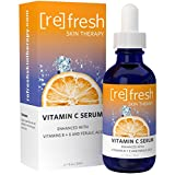 Vitamin-C Serum for Face with Hyaluronic Acid: Organic and All Natural Vitamin C, E, B and Ferulic Acid and Clinical Strength 20% for Ageless, Hydrated Skin by Refresh Skin Therapy