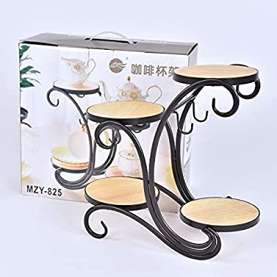 4 Tier Indoor Outdoor Plant Stands Coffee Cup Pot Stands Metal Flower Stand Planter Stand in Carriage Style for Garden and Living Room : Garden & Outdoor