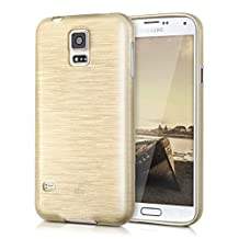 kwmobile TPU SILICONE CASE for Samsung Galaxy S5 / S5 Neo / S5 LTE+ / S5 Duos Design brushed aluminium gold transparent - Stylish designer case made of premium soft TPU