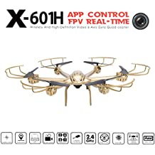 Voomall MJX X601H 2.4Ghz 6-axis Gyro 3D Roll Quadcopter Hexacopter Wireless and HD Video Real-time WiFi FPV C4005 Camera Drone with LED Light Air Pressure Altitude Hold One Key Return (Gold)
