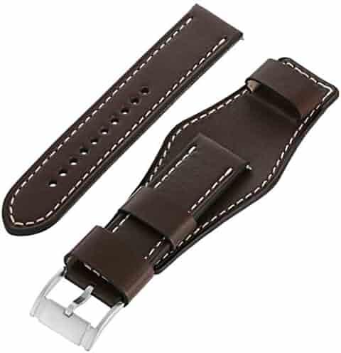 Fossil S221240 22mm Leather Calfskin Dark Brown Watch Strap