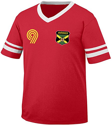 Jamaica Soccer Style Crest and Number Men's Retro Soccer Ringer T-shirt, Amdesco, Red/White - Football Shirts Shirt Retro