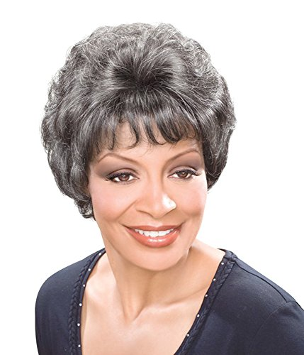 Short Straight Fluffy Slight Curly Wavy Gray Wig with Bangs for Older Ladies