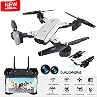 BIZONOD Drone with Camera Live Video SG700 WIFI FPV Rc Quadcopter with Dual 2.0MP Optical Flow Camera Auto-photograph Folding RTF Remote Control Helicopter Toy for Kids and Beginners