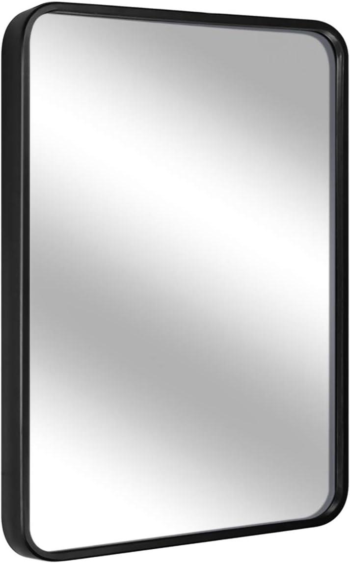LEORISO 24 x 36 Black Bathroom Mirror for Wall, 1.3 Metal Frame Rectangle Mirror, Wall-Mounted Mirror Hangs Horizontal Or Vertical