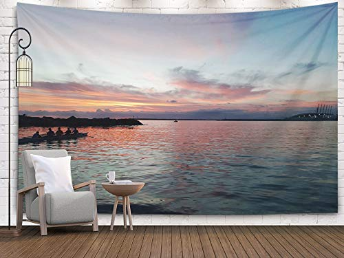 Hanging Wall Tapestry,Tapestry Wall Hanging,Douecish Decoration Italy amazing The Sunset Over Sea by Night Some Beautiful Clouds lights City 12112018 An For Bedroom Living Room Decor Wall Hanging Tape ()