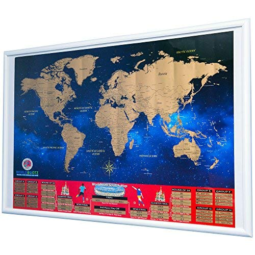 World Cup 2018 Scratch Off Map - Soccer Wall Chart Commemorative Poster Large Size Russia Keepsake Travel Memorabilia