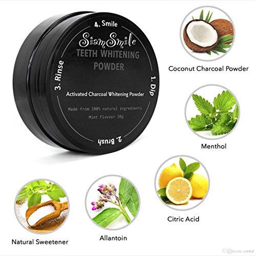 SiamSmile FDA Safe 100% Natural Organic Activated Charcoal Natural Teeth Whitening Powder Remove Smoke Tea Coffee Yellow Stains Bad Breath Oral (Make Up Ideas For Halloween Devil)