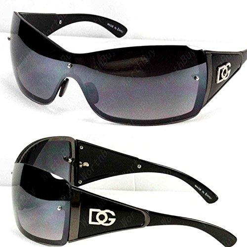DG Eyewear Womens Large Oversized Shield Wrap Sunglasses Designer Fashion Shades - Black Dg Oversized Designer Sunglasses