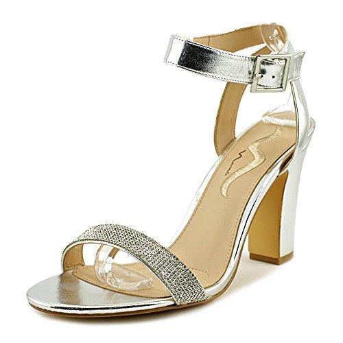 Nina Womens Samiya Open Toe Casual Ankle Strap Sandals Silver Metallic EuarxS9Lo