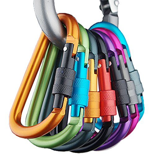 (Camping *Ambizu*) 5pcs Outdoor Multi Colors Safety Buckle with Lock Aluminium Alloy Climbing Button