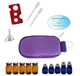 10 Bottle Essential Oil Padded Keychain Carrying Case Travel Bag, Roller Bottles and Euro Orifice Reducer Bottles, Bottle Opener, Funnel, Pipettes (Purple)