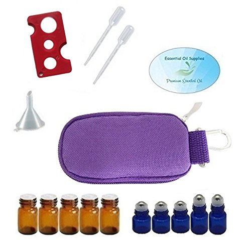 Keychain Case Bag (10 Bottle Essential Oil Padded Keychain Carrying Case Travel Bag, Roller Bottles and Euro Orifice Reducer Bottles, Bottle Opener, Funnel, Pipettes (Purple))