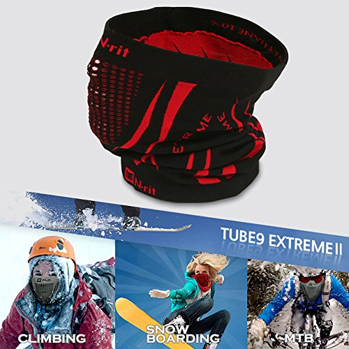 Fleece Neck Warmer, N-Rit Tube 9 Extreme 2 Multifunctional Face Mask Headwear Guard Durable Lightweight W/ Dual Ventilation Breathing System [Black/Red]