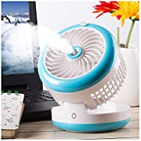 Huluwa Personal Fan Cooling Misting Fan, Portable USB Rechargeable Fan, Power Bank, Table Desk Mini Humidifier, Multifunction 3 in 1, Blue