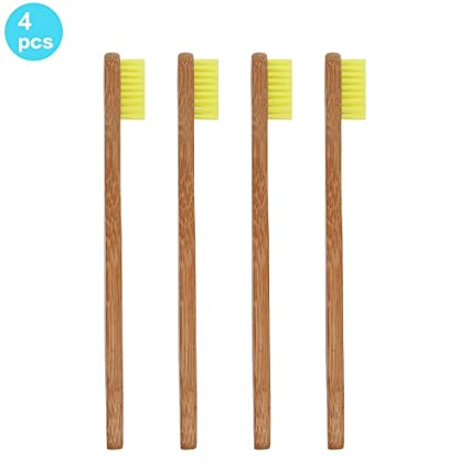 Soni Fox 4pcs Bambú Cepillo de dientes para niños de Eco Friendly bambú biodegradables con asas