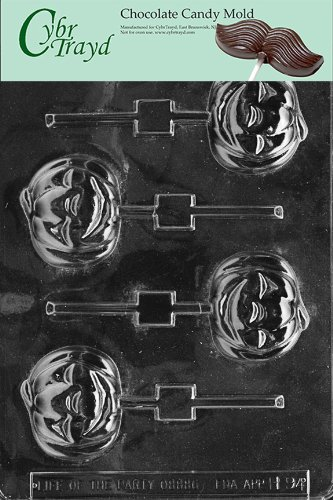 Cybrtrayd Life of the Party H094 Smiling Pumpkin Lolly Halloween Thanksgiving Autumn Chocolate Candy Mold in Sealed Protective Poly Bag Imprinted with Copyrighted Cybrtrayd Molding (Thanksgiving Candy Molds)