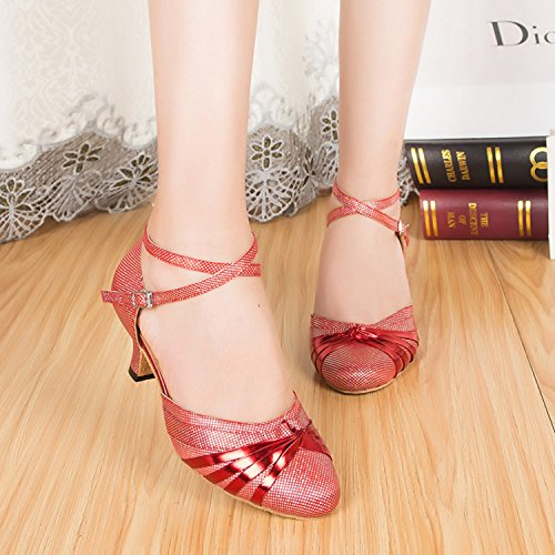 Shoes Strap Dance Latin Tango X Ballroom Glitter MINITOO 6cm Heel Leather QJ6133 T PU High Red Salsa strap Heel Toe Closed Womens 6pnp4Z7qSa