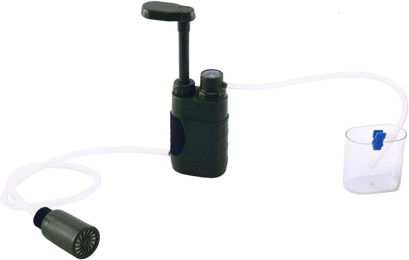 Amarine-made Wasserfilter Outdoor Armee Gr/ün Portable Notfall-Personal Wandern Camping Wasser Filter Wasserreiniger Tischwasserfilter Wasseraufbereitung f/ür Reise Outdoor-Aktivit/ät