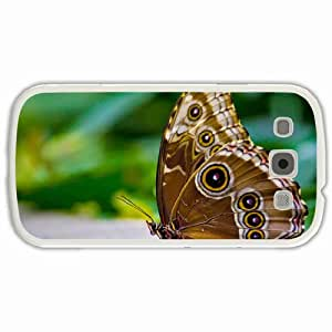 Customized Samsung Galaxy S3 SIII 9300 Hard Shell Cover Case Diy Personalized Designbutterfly morphological ispod Eyes sitting White