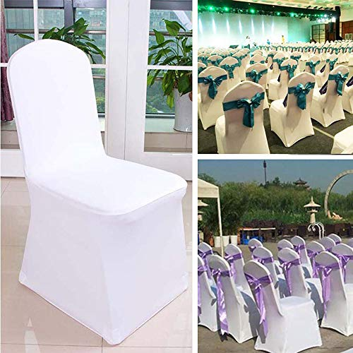 YJYdada 1pcs White Flat Arched Front Covers Spandex Lycra Chair Cover Wedding Party (A) by YJYdada (Image #2)