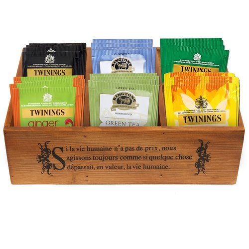 French Country Pinewood 6-Compartment Jewelry Organizer/Board Game Storage Box/Tea Holder - MyGift