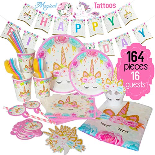 Ultimate Unicorn Plates and Supplies for Birthday Party | Best Value 164 Decorations Item Set That Give Everything You Need To Make a Long Lasting Magical Memorable Parties For Your - Supplies Decorations Party