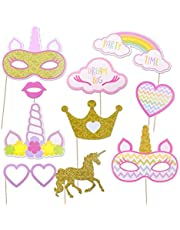10pcs Rainbow Unicorn Photo Booth Props Theme Party Decoration - Kids Birthday Party Decor - Baby Shower