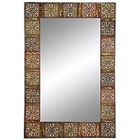 Aspire Embossed Metal Frame Wall Mirror, 36
