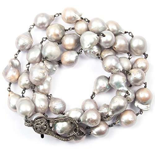 Pavé Diamond Clasp and Large Baroque Grey Pearl Wire Wrapped Necklace - 36 inches Long Handmade Necklace by Miller Mae Designs (Baroque Saltwater Pearl)