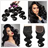 JiSheng Hair 8A Mink Brazilian Virgin Hair Body Wave 3 Bundles with Lace Closure 100% Unprocessed Brazilian Hair with Closure Human Hair Weave Bundles Natural Color (26 26 26 with 20) Review