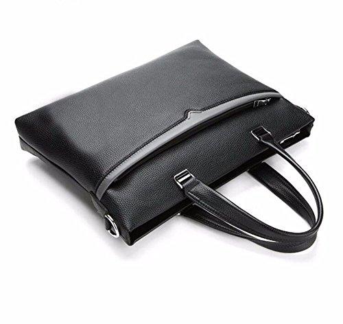 los negocios la de negro bolso de sección computadora transversal solo maletín cuero hombro hombres marron Brown Black de suave inclinado de Surnoy Bolso O8qwXX