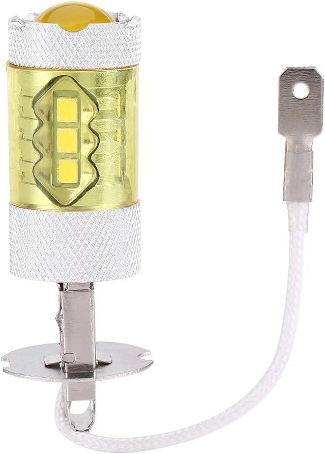 EBTOOLS Bombillas antiniebla, 1 par de bombillas de lámpara de luz antiniebla para coche amarillo 12-24V 80W H3 16SMD LED