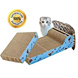 Living Express Multi-activity Kitty Cat Scratching Pad Post with Catnip - Sturdy Recycled Materials Scratcher - Free Toy (Bed Set of 2)