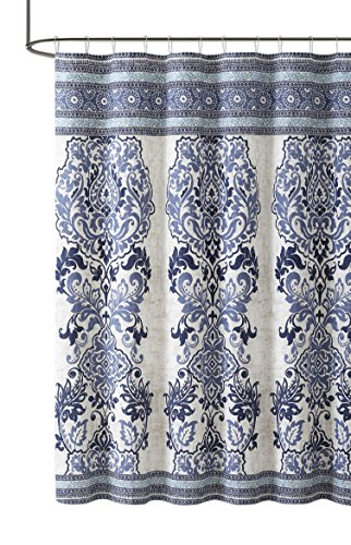 Maya Blue Beige Cotton Fabric Shower Curtain: Floral Paisley Boho Design