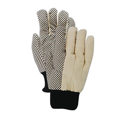 Magid Safety MultiMaster T30P Gloves | 8 oz. PVC Dotted Cotton / Polyester Blend Gloves - Knit Wrist Cuff, Large, Tan/Black (12 Pairs)
