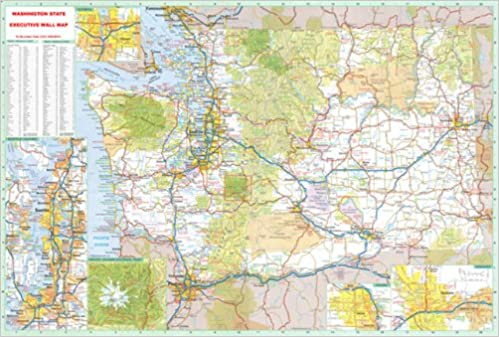 X Washington State Official Executive Laminated Wall Map WA - Map washington state