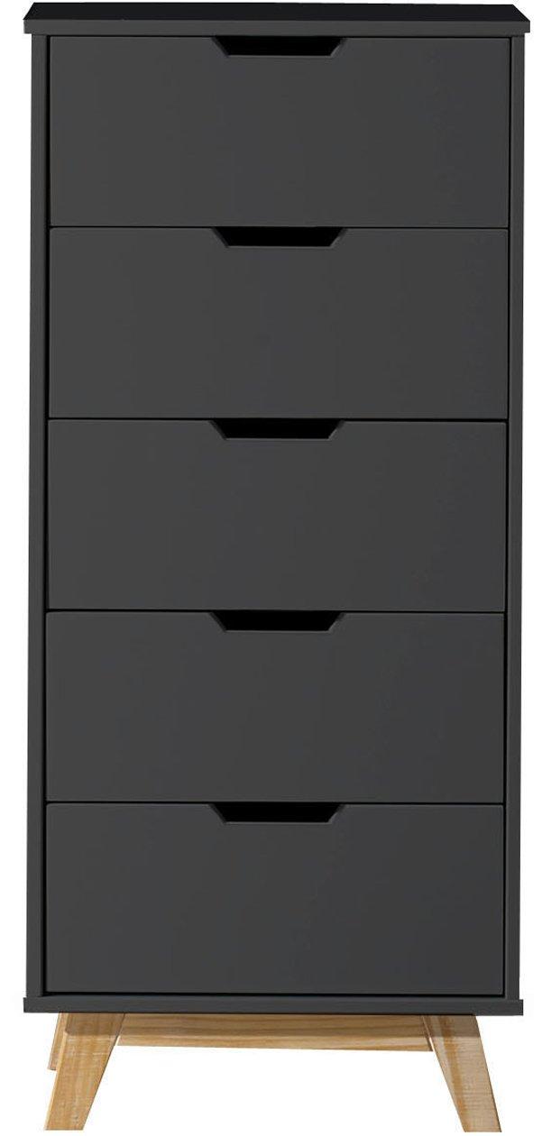 MDF lackiert Holzbeine und Metallschienen VS Venta-stock Kommode Miranda mit 4 Schubladen